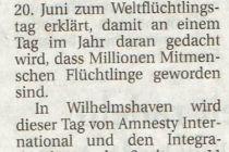 Artikel der Wilhelmshavener Zeitung vom 12.06.2015